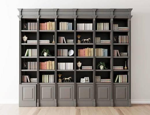摆件组合, 书柜, 书籍, 美式