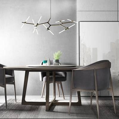 桌椅组合, 桌子, 椅子, 吊灯, 壁画, 现代