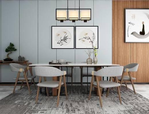桌椅组合, 桌子, 椅子, 壁画, 吊灯, 花瓶, 盆栽, 边几, 新中式