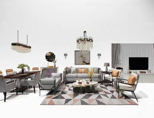 布艺沙发, 餐桌, 吊灯, 台灯, 花瓶, 电视柜, 抱枕, 酒杯, 地毯, 茶几, 欧式