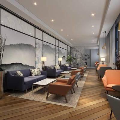 现代咖啡厅, 壁画, 多人沙发, 椅子, 吊灯, 茶几, 现代