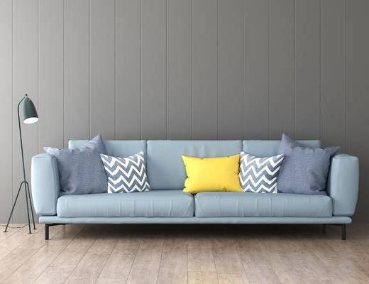 沙发组合, 双人沙发, 落地灯, 北欧