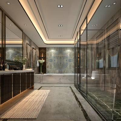 浴室, 洗手台, 浴缸, 淋浴间, 镜子, 现代