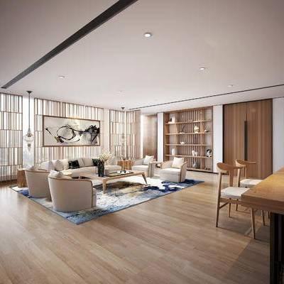 新中式, 餐厅, 沙发, 茶几, 办公室, 办公桌, 椅子, 电脑, 置物架, 摆件, 1000套空间酷赠送模型