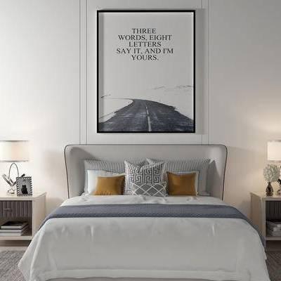 床具组合, 双人床, 床头柜, 台灯, 壁画, 现代