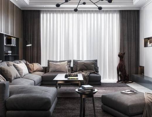 现代客厅, 沙发组合, 客厅