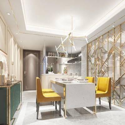现代餐厅, 吊灯, 桌子, 椅子, 边柜, 置物柜, 现代