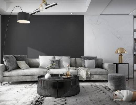 现代, 客厅, 餐厅, 沙发, 茶几, 吊灯, 台灯, 狗狗