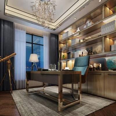 现代书房, 置物柜, 桌子, 椅子, 台灯, 吊灯, 壁画, 地毯, 现代