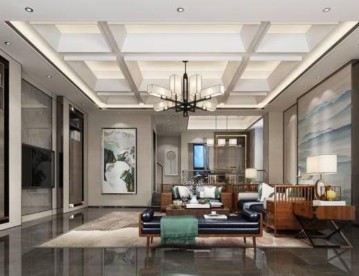 新中式客厅, 吊灯, 多人沙发, 茶几, 边几, 台灯, 壁画, 沙发躺椅, 新中式