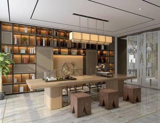 新中式茶室, 桌子, 凳子, 置物柜, 吊灯, 盆栽, 新中式