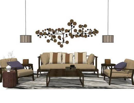 沙发组合, 多人沙发, 茶几, 吊灯, 椅子, 边几, 新中式