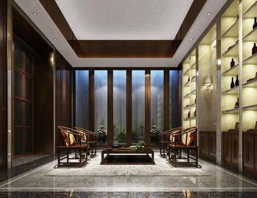 會客區, 桌子, 椅子, 置物柜, 中式