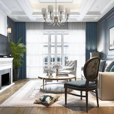 美式客餐厅, 壁画, 多人沙发, 边几, 壁炉, 壁灯, 吊灯, 茶几, 椅子, 台灯, 美式