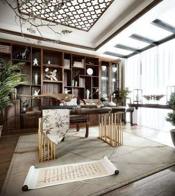 中式, 书房, 桌椅组合, 植物, 置物柜, 陈设品组合