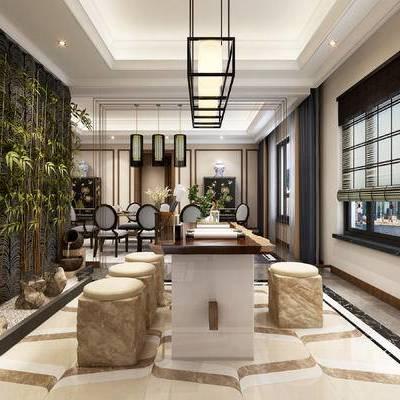 中式书房, 吊灯, 桌子, 椅子, 凳子, 落地灯, 边柜, 中式