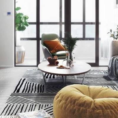 北欧客厅, 双人沙发, 茶几, 边几, 椅子, 沙发凳, 地毯, 花瓶, 北欧