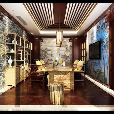 新中式书房, 壁画, 置物柜, 椅子, 桌子, 吊灯, 凳子, 新中式