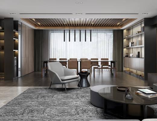 现代客厅, 多人沙发, 储物柜, 茶几, 椅子, 桌子, 边几, 台灯, 吊灯, 地毯, 现代