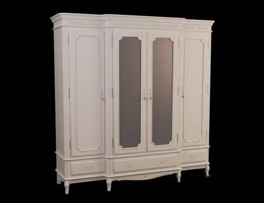欧式简约, 衣柜, 白色, 欧式衣柜