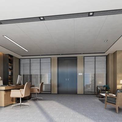 现代, 办公室, 经理办公室, 办公桌, 办公椅, 沙发, 茶几, 台灯, 置物架, 摆件, 挂画, 装饰画, 盆栽, 苹果电脑, 1000套空间酷赠送模型