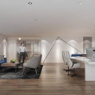 现代办公室, 桌子, 置物柜, 茶几, 多人沙发, 电脑, 现代