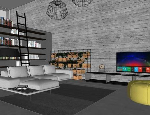 工业风客厅, 客厅, 沙发组合