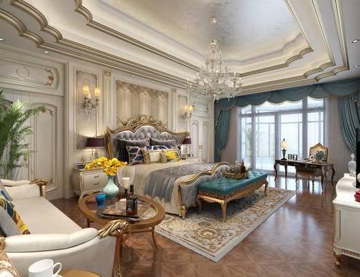 欧式简约, 卧室, 床具组合, 吊灯, 沙发茶几组合