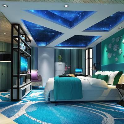 现代卧室, 双人床, 边几, 壁灯, 壁画, 置物柜, 椅子, 落地灯, 现代