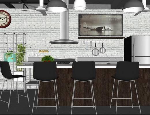厨房, 开放式厨房, 吧台, 单椅, 吊灯, 欧式