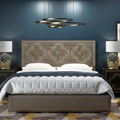 床具组合, 双人床, 吊灯, 床头柜, 台灯, 相框, 欧式