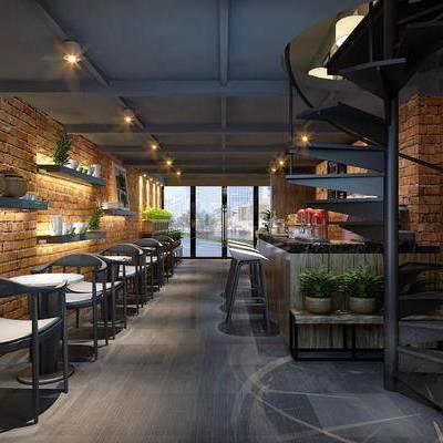 现代咖啡厅, 吧台, 吧椅, 椅子, 吊灯, 置物架, 现代