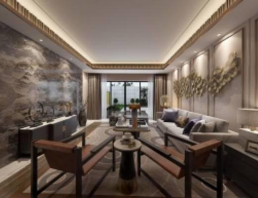 新中式客厅, 沙发茶几组合, 壁画, 台灯, 柜子, 花瓶, 摆件组合, 边几, 新中式