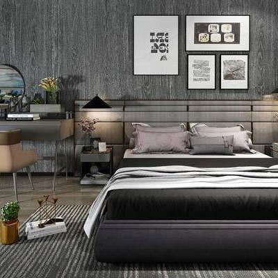 床具组合, 双人床, 壁画, 吊灯, 床头柜, 桌子, 椅子, 地毯, 现代
