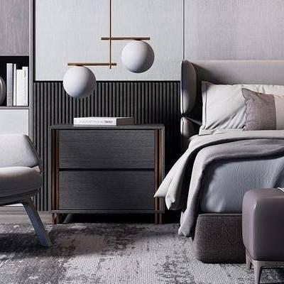 床具组合, 双人床, 床尾塌, 椅子, 床头柜, 吊灯, 置物柜, 现代