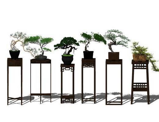 盆栽, 边几, 新中式