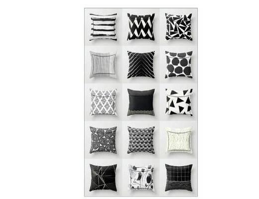 抱枕, 现代, 摆件组合, 黑白