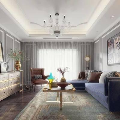 现代客厅, 多人沙发, 边几, 壁画, 边柜, 椅子, 落地灯, 茶几, 花瓶, 台灯, 相框, 吊灯, 地毯, 现代