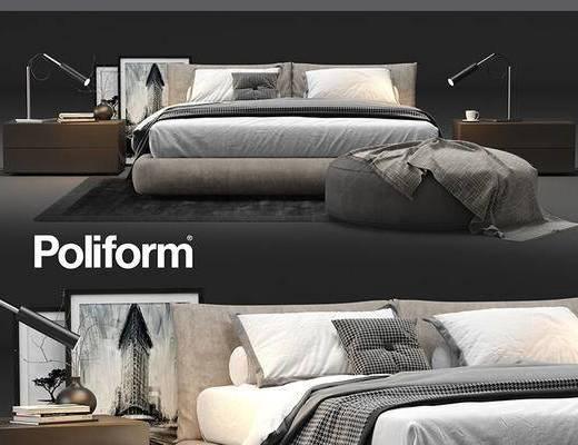 现代简约, 床具组合, 台灯, 下得乐3888套模型合辑