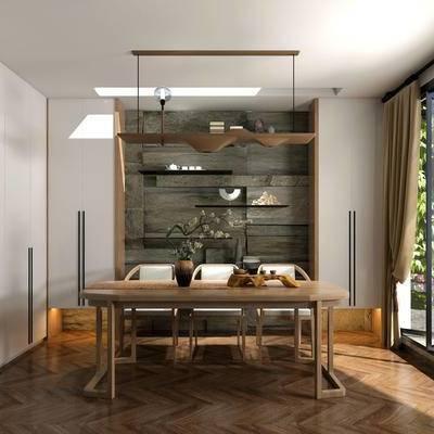 茶室, 置物架, 吊灯, 桌子, 椅子, 中式