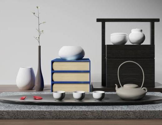 中式茶具摆件组合, 茶具摆件组合, 茶具组合
