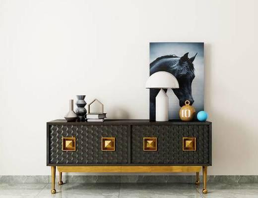 现代边柜, 边柜组合, 边柜, 装饰画