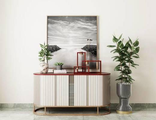 现代边柜, 边柜组合, 边柜, 植物