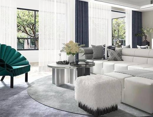 沙发组合, 茶几, 单椅, 装饰画, 装饰柜