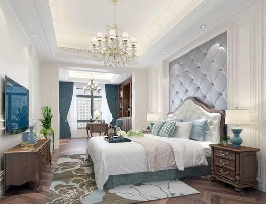 欧式卧室, 卧室, 双人床