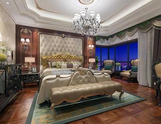 欧式卧室, 卧室, 现代卧室, 双人床