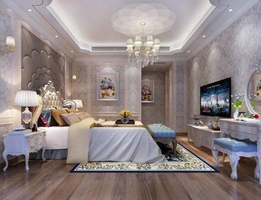 现代卧室, 欧式卧室, 卧室, 双人床