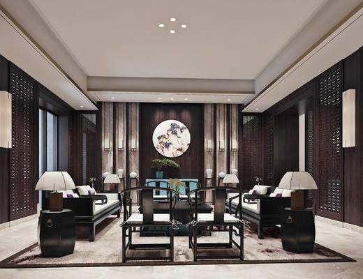 中式客厅, 客厅, 沙发组合