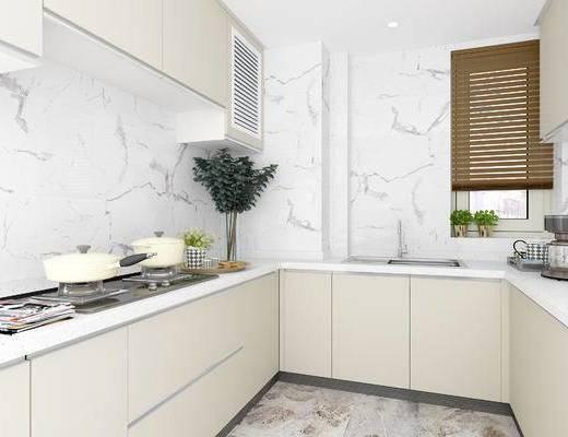 现代厨房, 橱柜, 厨房