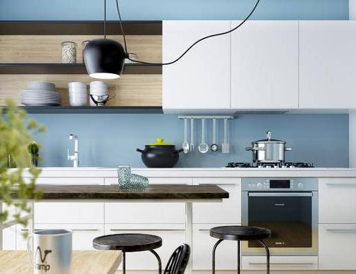 现代厨房, 厨房, 餐桌椅